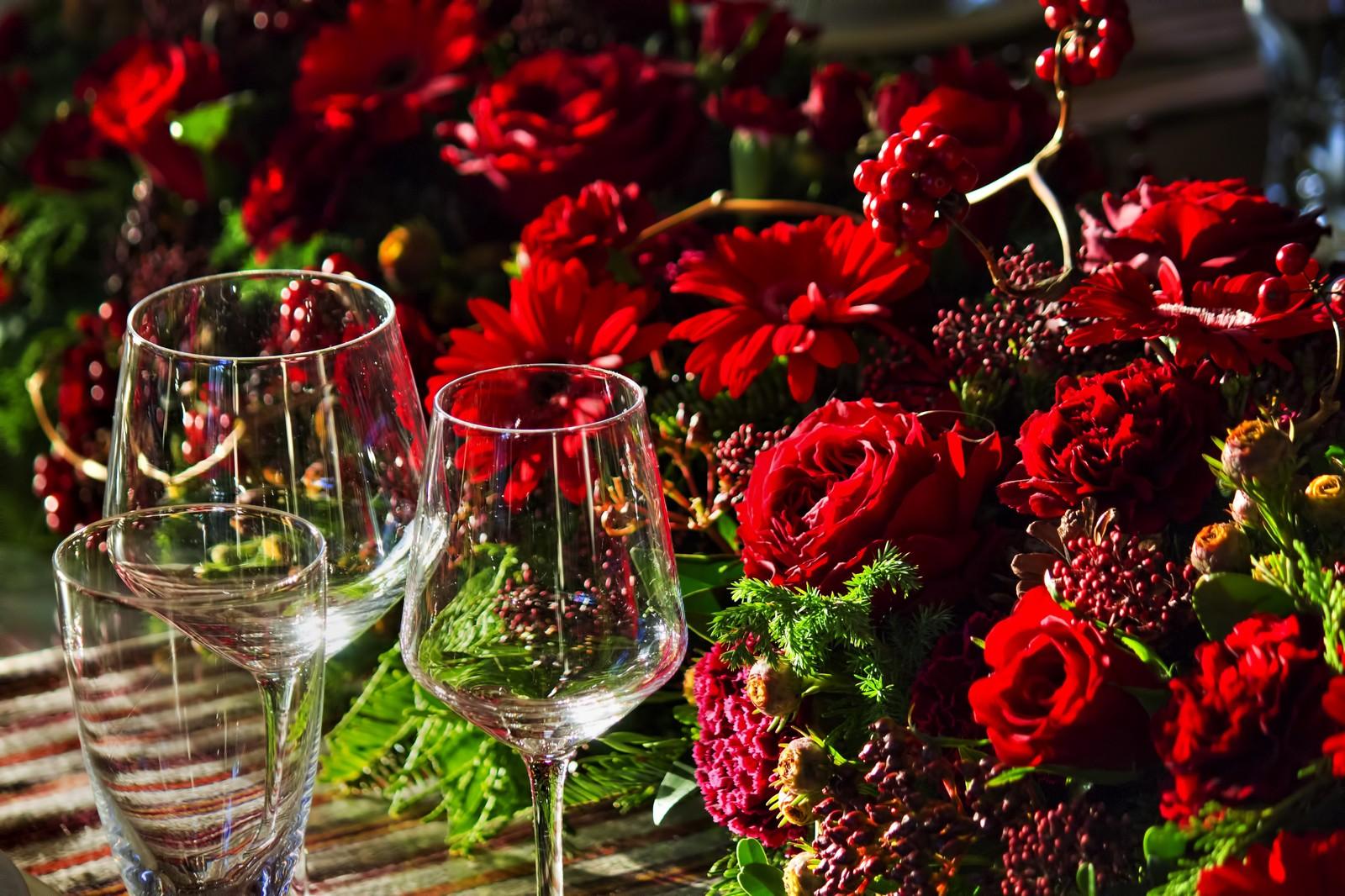 赤い薔薇 ワイングラス