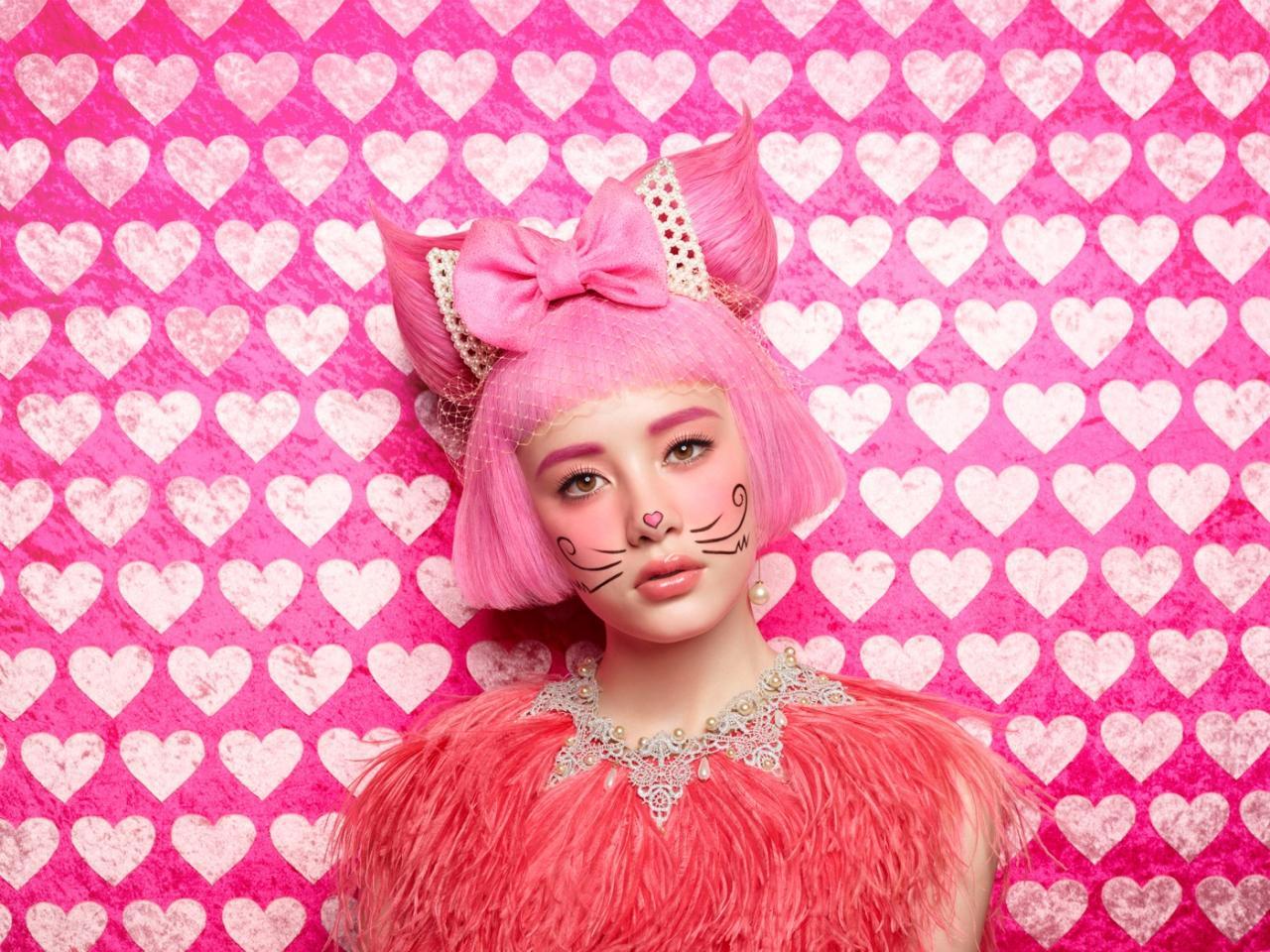 ピンク猫メイク