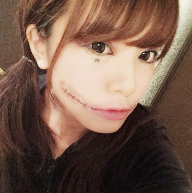 口避け女風ハロウィンメイク♡のAfter画像