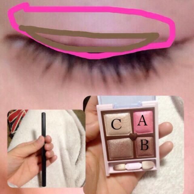 ピンクの線のなかに、アイシャドウのAんぬり茶色の囲みにBをむります。そのうえか、左の写真のアイライナーをぬります。