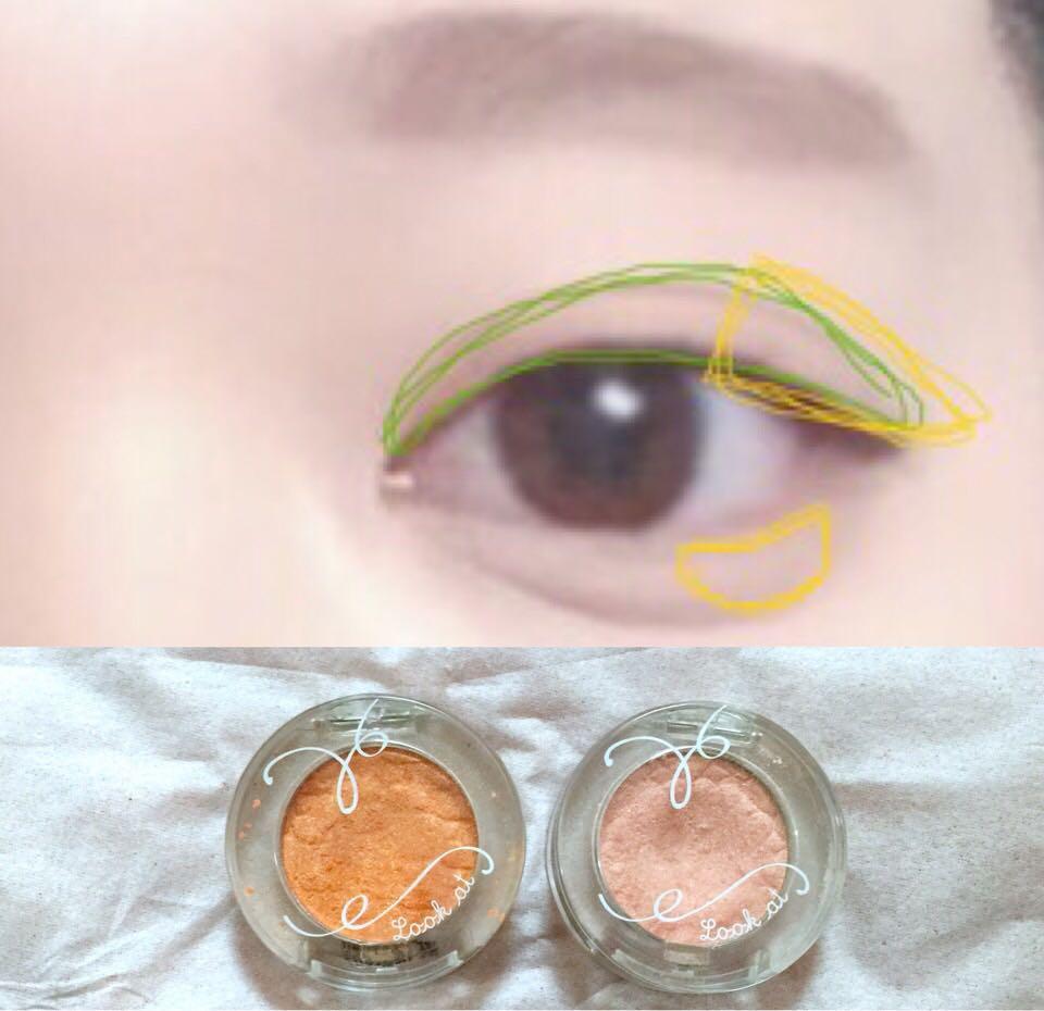 まず右側の薄い色を緑の枠の中にポンポンとのせていきます。その後黄色の部分に写真左側の濃いオレンジを!濃いオレンジは目頭に入れても可愛い^^