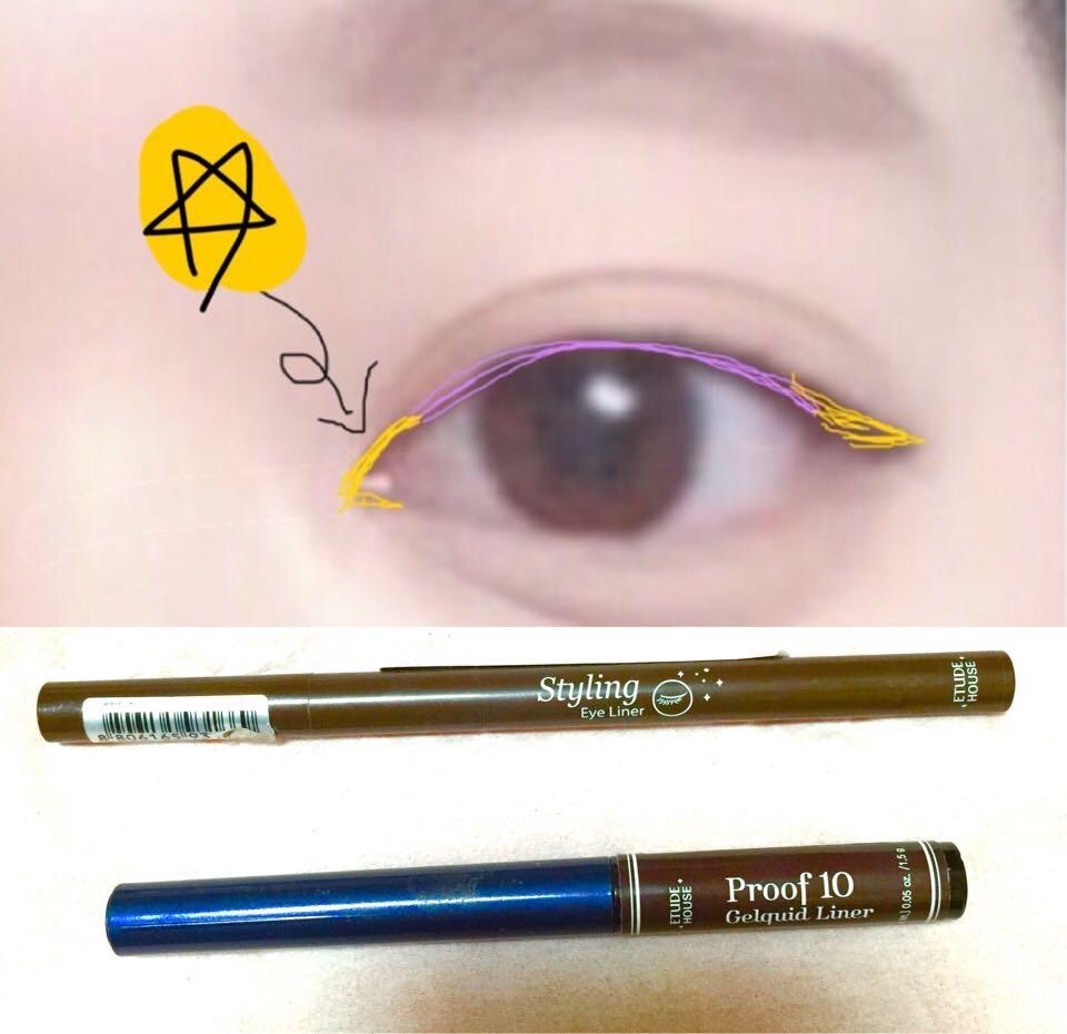 紫の部分(粘膜の部分)はペンシルで引いて目尻はリキッドのブラウンで引きます!ラインの長さはお好みで!切開メイクはするとインパクトがありますね!やってもやらなくてもok!