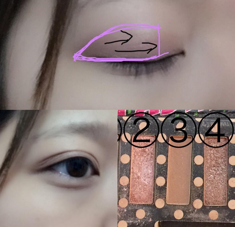 次はさっきのパレットの②と④を軽く混ぜてピンクの部分にのせて内側に向かって伸ばしていってね!目頭の部分にはほとんど色がのらなくても大丈夫!