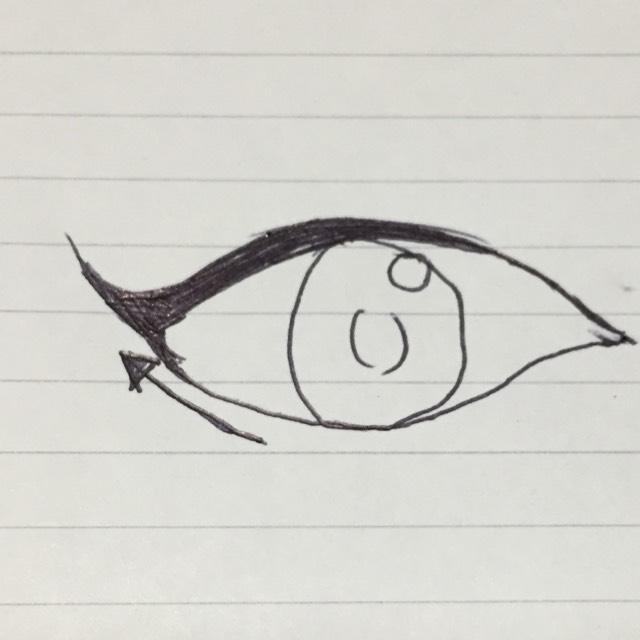 目尻のキャットラインを書くとき、した目尻の延長線に書くと綺麗に見えます!