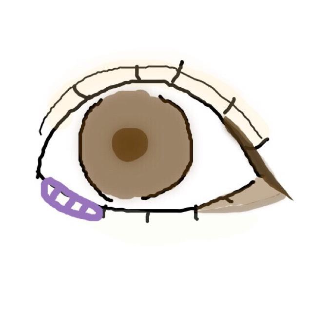 紫の斜線部分に白いラメを少しのせます ⚠︎涙のように見せて男性をドキッとさせちゃいましょう! 塗すぎには注意です!