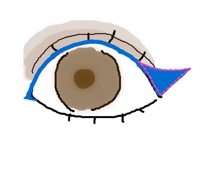 ブラックアイライナーで目頭に切れ目を入れ、目尻まで引きましょう。 跳ね上げる時に逆三角形を意識してください。