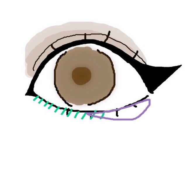 緑:ブラシを使ってブラウンのアイシャドウをフワッと!(囲んでしまうと目が小さく見えます..) 紫:イエローゴールドのアイシャドウを2分の1にオン。(潤んだ瞳に見せる効果があります)
