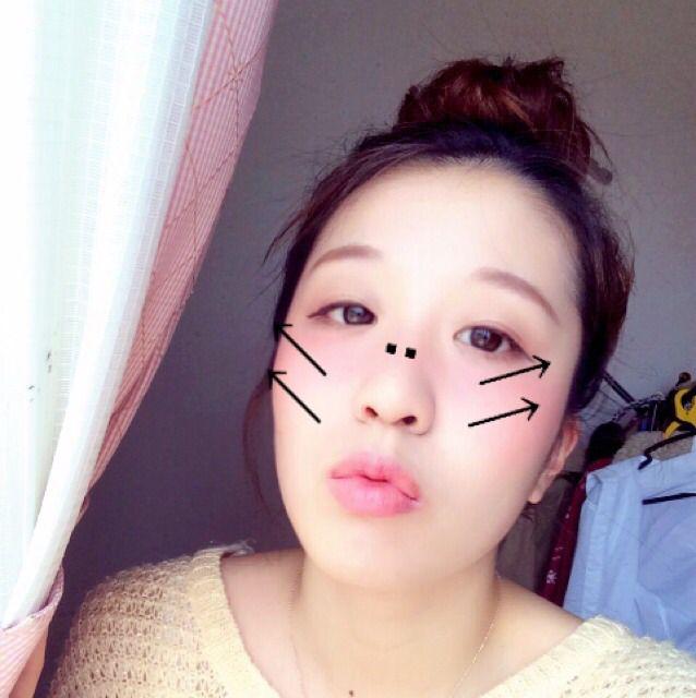 点と矢印に従って、頬と鼻筋に赤リップを乗せます。頬は猫のヒゲかヨサコイメイクみたいなつもりで。鼻にはほんの少しちょんちょん。 赤リップが乗せられたら指かスポンジで伸ばしてください。