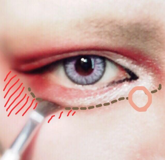 コスメに乗せたパウダーのアイブロウで点線の様に涙袋の影をつける。(ダブルラインの茶×赤シャドーの延長で目を囲むイメージ) 抜け感を出すために目頭側の◯をつけた場所は描かない。 少し明るめの赤シャドーで斜線のように目尻側に広く赤を足す