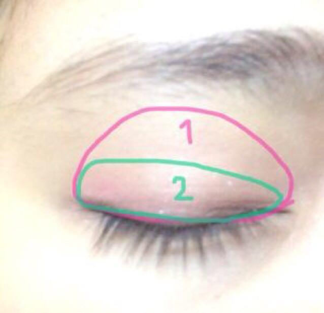 瞼に1の薄いピンクをぬる。二重幅に2のブラウンピンクをぬる。
