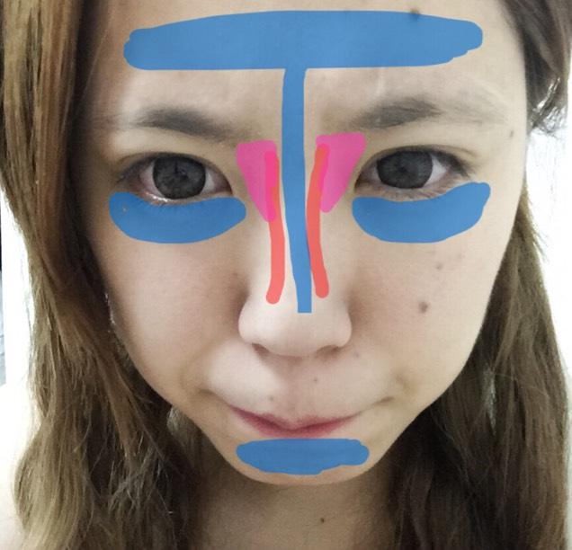 青…ハイライト 目の下はアイシャドーを馴染ませるイメージでのせる  赤が普段のノーズシャドーで、今回は太眉なのでノーズも負けないように目頭付近に三角形を描くイメージでピンクの部分を書く。