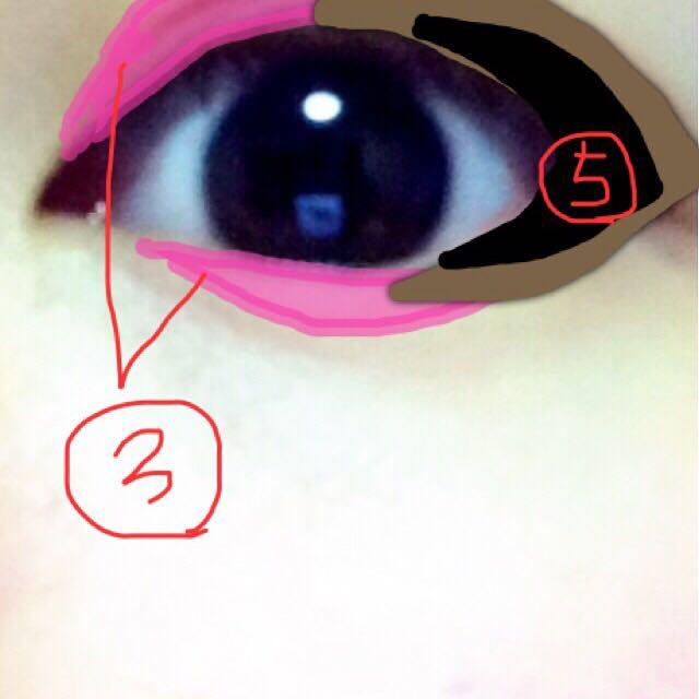 ③.上の画像にあるピンクシャドウをハイライトを避けて上下の瞼に塗ります。大胆に。②番で塗ったシャドウとは被っても構いません。 ④.パレットの④を混ぜて、ピンクのシャドウと少し被らせて境界線をぼかしながら上下塗ります。 ⑤.出来ればラメ入りではない黒を目尻1/3をこちらも境界線をぼかしながらサッと塗ります。