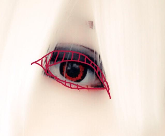赤い枠のように目を囲うようにしてアイラインをひいていきます。 アイラインを引いたら、上瞼と下瞼の目尻側のラインを黒のシャドーでぼかします。