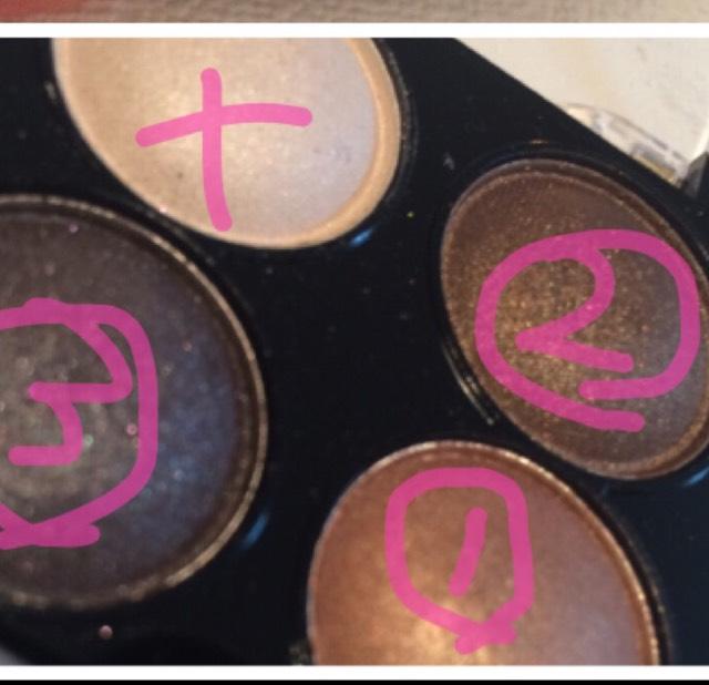 1をアイホール全体、2を瞼に1センチくらい、3をアイペンシル代わりに細く、まつげの隙間を埋めるようにかいていきます。