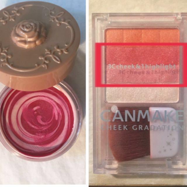 チークは2種類使いました。 ANNA SUIの練りチークを一番濃くしたい場所にトントンと指で叩き、その上からキャンメイクのラメ感のあるパウダーチークをクリームチークより広く乗せる。 パウダーチークは四角で囲ったピンク2色だけ混ぜて使ってます。