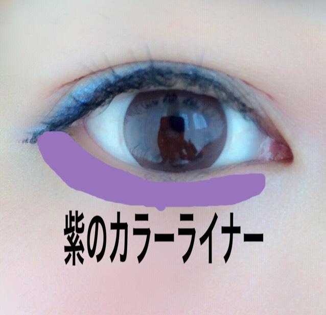 紫のカラーライナーを涙袋