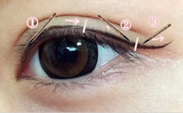 [2の手順 説明追加]  アイライナーの向きに向かって寝かせながら引きます。   ①目頭→黒目 ピンクの線まで  ②目尻→黒目 ①と同じくピンクの線まで  ③少し跳ね上げる  説明不足で自分でも分かりづらかったので追加致しました。