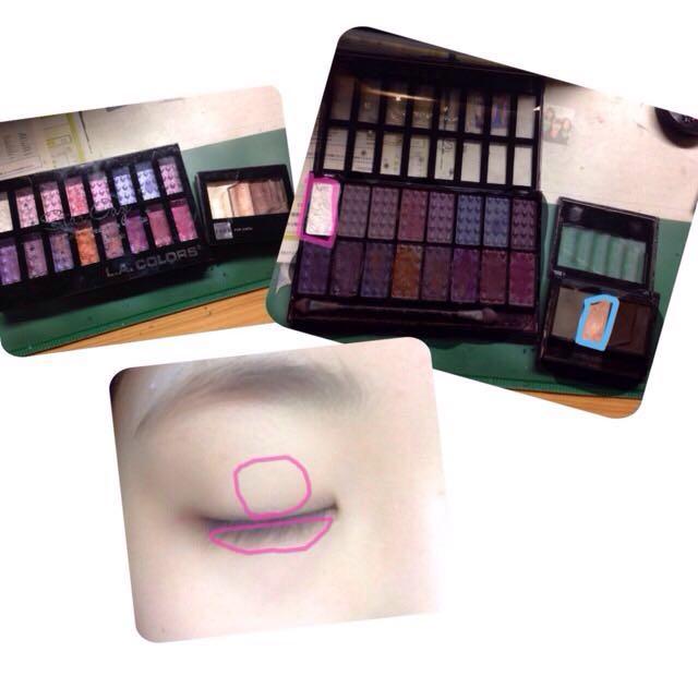 ③画像の白いアイシャドーを、上まぶたはピンクの部分を中心に全体に塗り、下まぶたにも塗ります。  ④青く囲んだブラウンのアイシャドーで、③で塗った上まぶたの白味をナチュラルに仕上げます。必要があれば、右隣のワントーン暗いアイシャドーを使うのもアリです。  (左:L.A.COLORS,右:fasio使用。)