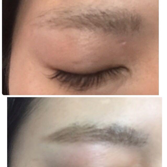 茶色のアイブロウペンシルで眉毛をかきたしていきます。 眉毛は黒より茶の方が今顔になるかとおもいます