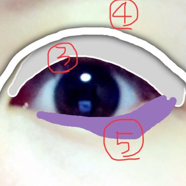 ③パレットの写真3番のやや濃いグレーを、目頭は薄く徐々に中心から目尻にかけて濃く塗る ④パレットの写真4番を綿棒などで、二重の線より上に(二重線にかぶらないように)ダブルライン。1番濃いグレーで!! 濃くはっきりさせたいときは目頭オーバーするまで引く ⑤これはカラコンの色と揃えて、グレーに合うカラコン。私はパープルですが、ブルーグリーンでもok ①のハイライトにかぶらない程度にガッツリ塗る