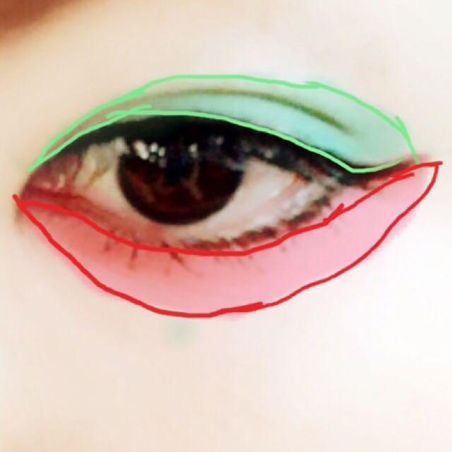 予め上下に軽くマスカラを塗っておくのがMAKOTO流!  ①アイホールにシルバーをのせる ②上瞼の緑で囲った部分に鮮やかな緑をのせる ③下瞼の赤で囲った部分に赤をのせる