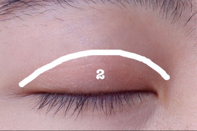 Add coral brown over your lid, control the area. it should be slightly over your double-fold eyelid.