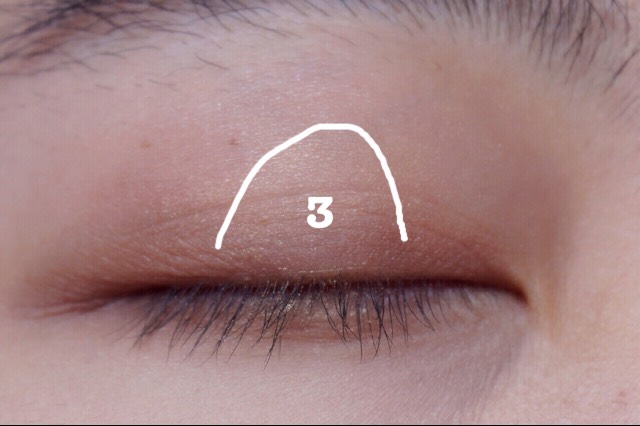 Add color 3 to emphasise a shimmery look. Your eyes will look bigger and brighter.