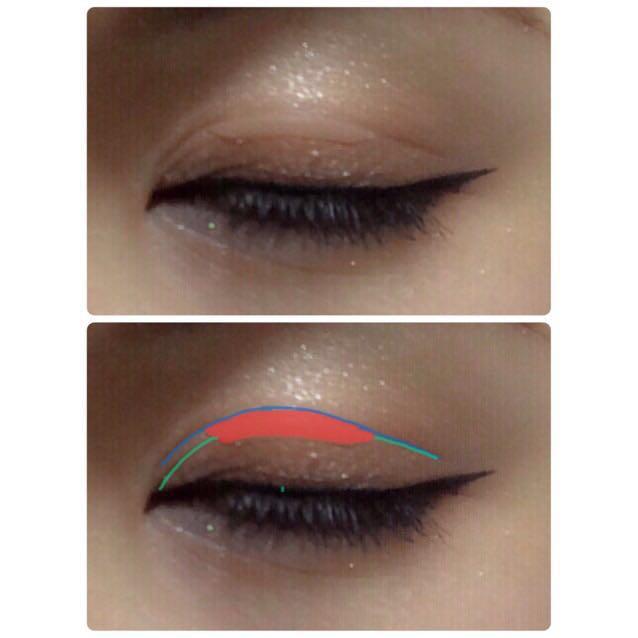 赤色がアイテープ 緑色が元の二重の線 青色が広げてできた線  《重要》アイテープは元の二重の線にかぶるように貼らないと二重は広げられません!