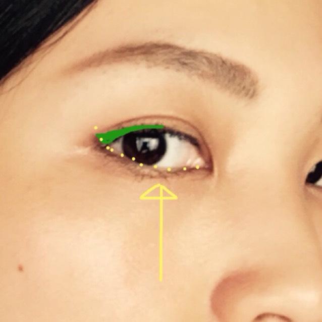 ペンシルアイライナー目尻側1/3を少しずつ外に向かって太くなるように描く。目尻の終わりは、黄色の点線の下まぶたのラインの延長線上にする。
