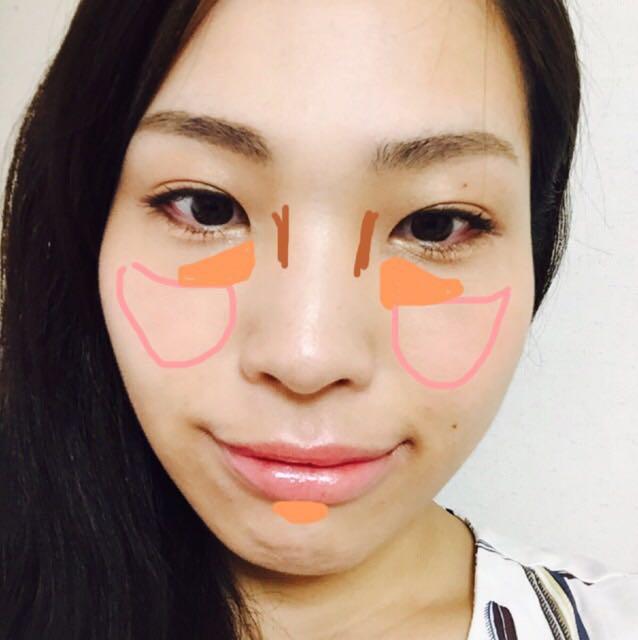 ピンク線のチークゾーンに入らないようにオレンジ部分にハイライト。(ハリを作る)鼻が低く感じる人は薄っすら茶色線の部分に鼻筋を作ります。