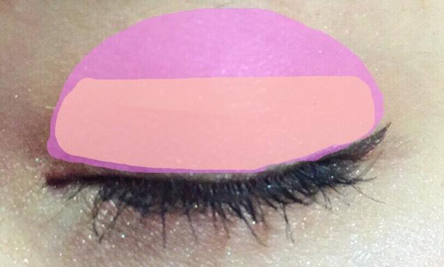 ピンクの部分全体に ピンクシャドウを薄くのせます。 (ピンクチーク代用可)  ブラウンの部分に 二重幅からはみ出す感じで ブラウンをのせます。  のせたら 何も付けていないシャドウブラシで、 のせたシャドウをブレンド、 混ぜ合わせるように広げます。