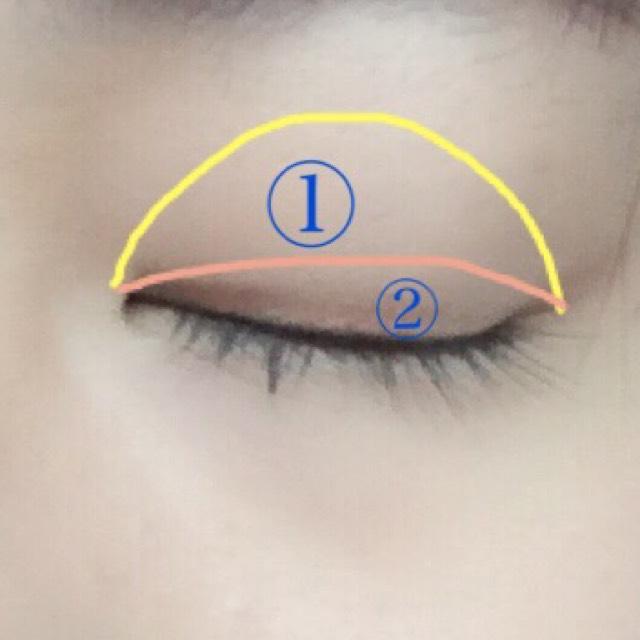 最初に①をアイホール全体にのせます 次に②を二重幅にのせます どちらも薄づきを意識します( ¨̮ )