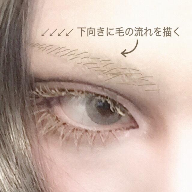 画像のようにリキッドアイブロウで一本一本毛を書き足すイメージで気持ち太めに眉を描く。 ポイントは[角度をあまりつけず目に近く] 斜め下に向かって毛流れを描くと目に近くしやすいです。