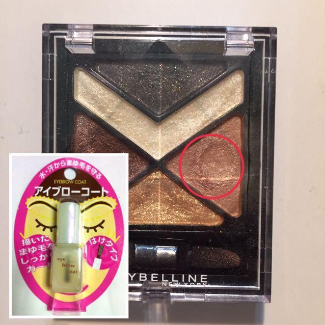 リキッドで眉を描いたら◯を付けた色のシャドーをブラシで取り上からささっと乗せる。 眉が出来たらダイソーのアイブロウコートを塗り粉落ち防止。