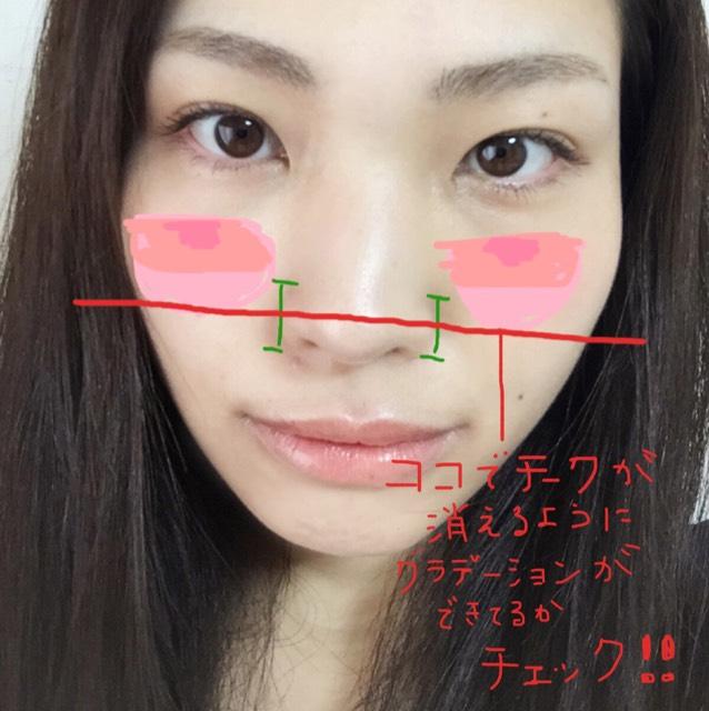 こんな感じのピンクのグラデーションが目安。チークのグラデーションの終わりが小鼻の真ん中か、もう一度チェック。