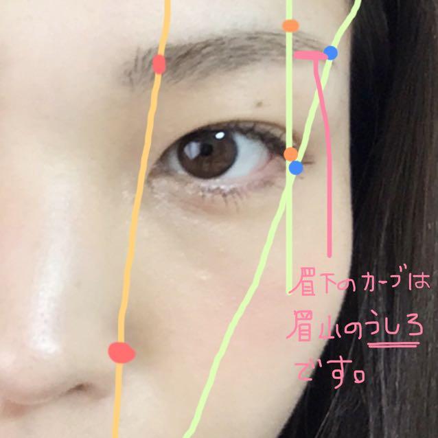 眉下のカーブは、眉山の後ろで眉尻の終わりとぶつかるように。