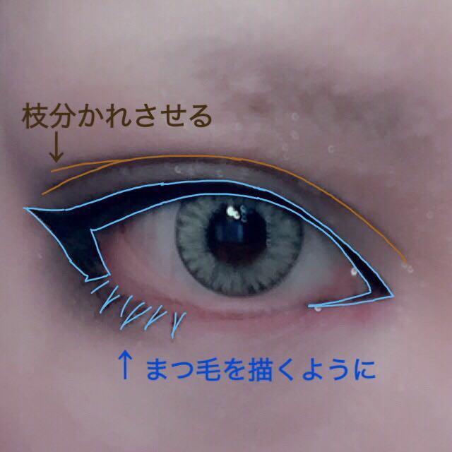 アイプチで二重幅を広げる。 黒のアイライナーで画像の青く示した形を意識してラインを引く。 目尻側を太めに釣り上げるように描くのがポイント。 コスメに載せたリキッドアイブロウでアイプチをしたラインにダブルラインを引く。