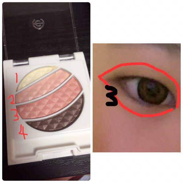 アイシャドウ(AC きらきら アイシャドウM 05)の2を瞼全体に塗ります。その次に3を瞼半分まで塗って下さい。 右画像の赤い線の中を 3を塗って下さい!