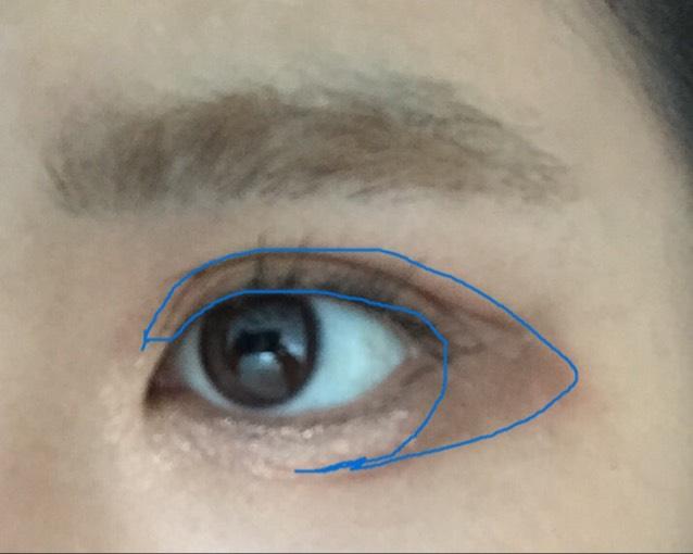 アイシャドウパレットの2番目に濃い色のアイシャドウを青ラインにぬります。 塗り過ぎても大丈夫です