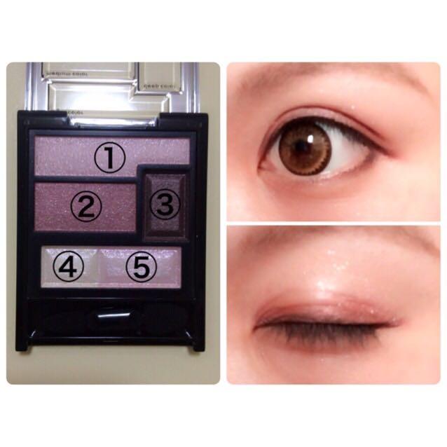 ③を目の極と、下まぶたの目尻から1/3のところに塗ります。