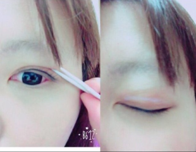 〜雙眼皮膠水篇〜 這次使用「d.u.p」的假睫毛膠水來代替雙眼皮膠水!決定好眼摺的位置後,細細地塗上膠水。