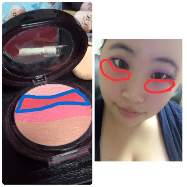 チークの赤い部分を目の下にポンポンとのせて下さい!