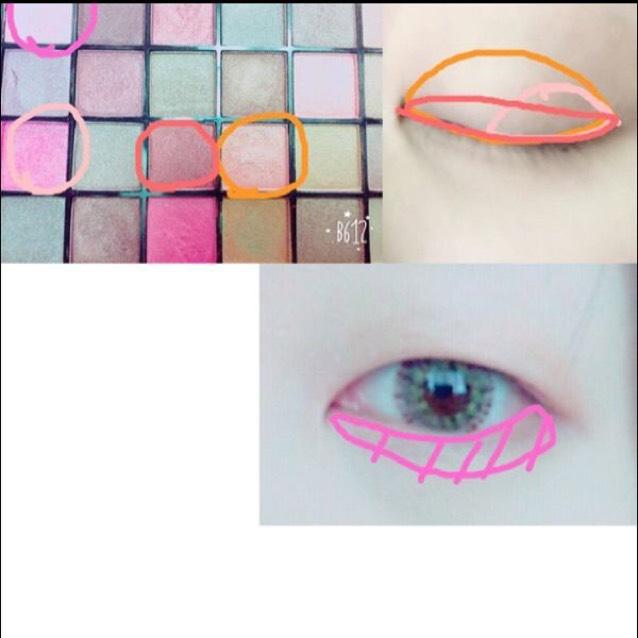 如圖所示塗上眼影。上眼瞼整體塗上橘色 ; 眼尾處塗上粉紅色 ; 稍微高出雙眼皮線的範圍塗上紅褐色 ; 下眼瞼塗上淡粉色。