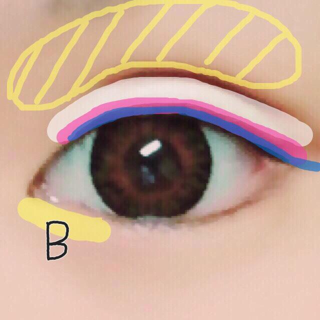 5. アイシャドウBを目頭の方の涙袋に薄く塗る( •ω• )