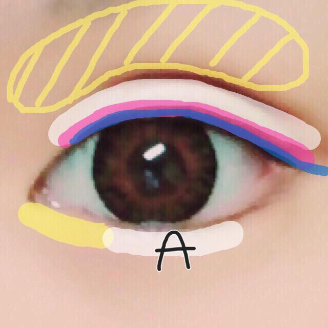 6. アイシャドウAを涙袋の中央に薄く塗る( •ω• )