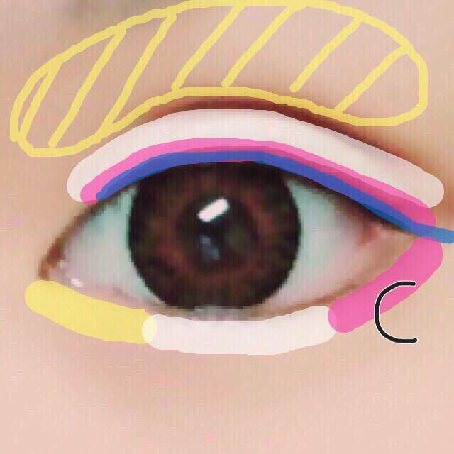 7. アイシャドウCを目尻側の涙袋に薄く塗る( •ω• )