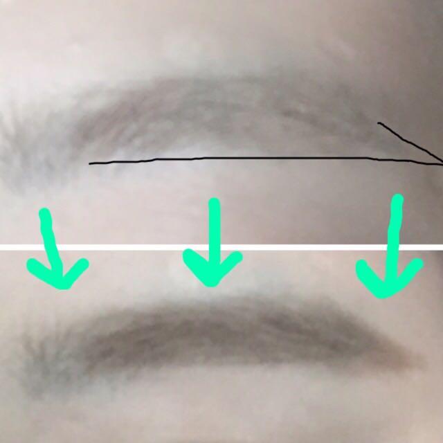 眉毛の色は1番明るい色を選びます。  ペンシルで黒線の形を描く(眉下を真っ直ぐ眉尻をキレイに描く) →眉マスカラ →1番明るいアイブロウパウダーを眉にのせます。