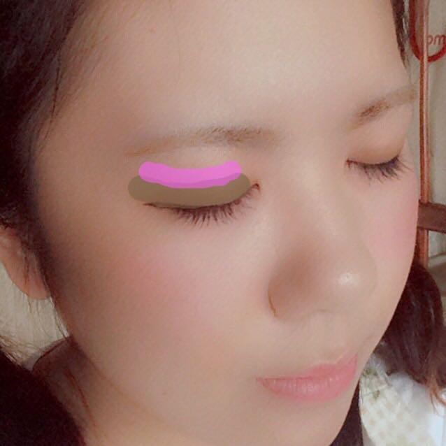 ぼかしたところ+上2mmほどの部分にDiorのピンクを塗ってぼかします。  血色感が出ます(∗ ❛⃘ ❛⃘∗)❥»  涙袋は白ライン+同ピンク。