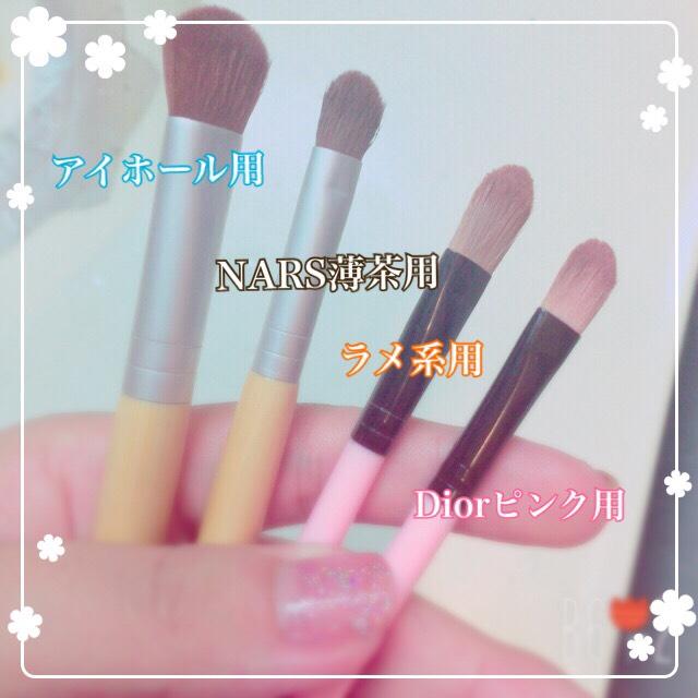 【おすすめの筆】  左2本はそんなに高くない熊野筆です♡柔らかく、ぼかしもとても綺麗にできます(*˘︶˘*).。.:*♡