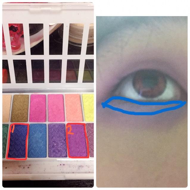 ⑴を右の画像のように塗って下さい。 水色は明るすぎるので 濃い青にして下さい。